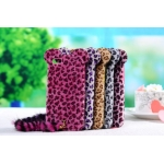 Fashion 3D luxury leopard soft hairy flocky feather with tail for iPhone 5 with retail package
