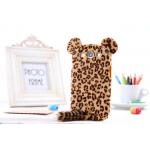 Fashion luxury leopard soft hairy flocky with tail for Galaxy S3 i9300 with retail package